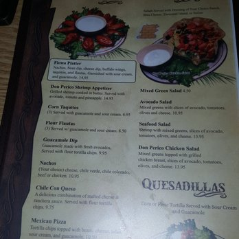 Don Perico Mexican Restaurant Menu