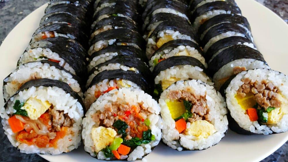 Kimchi-Beef & Beef Kimbap Rolls ($3 each): Kimchi, ground ...