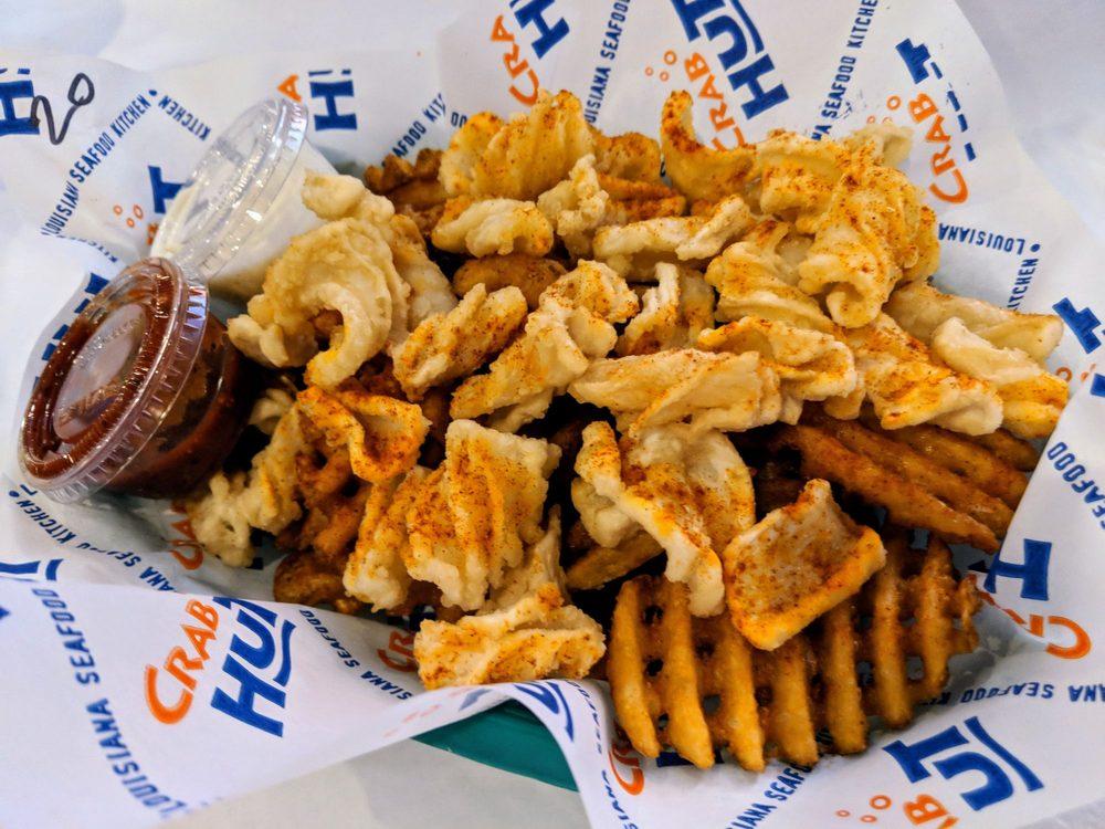 Calamari and waffle fries, so crunchy and crispy best