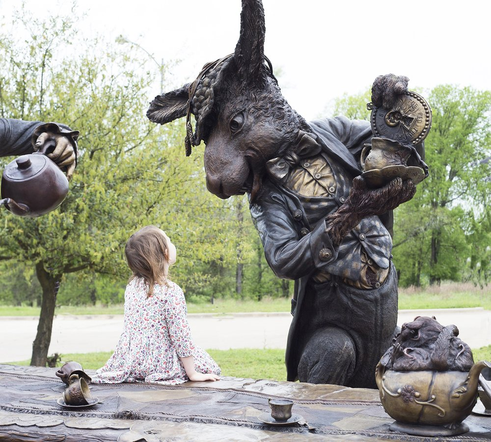Mad Hatter Tea Party Sculpture-Evelyn's Park: 4400 Bellaire Blvd, Bellaire, TX