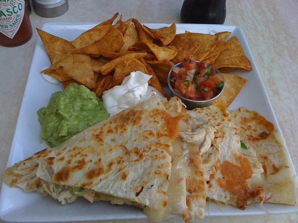 Chicken quesadilla (with pepper jack cheese, guacamole, pico de ...