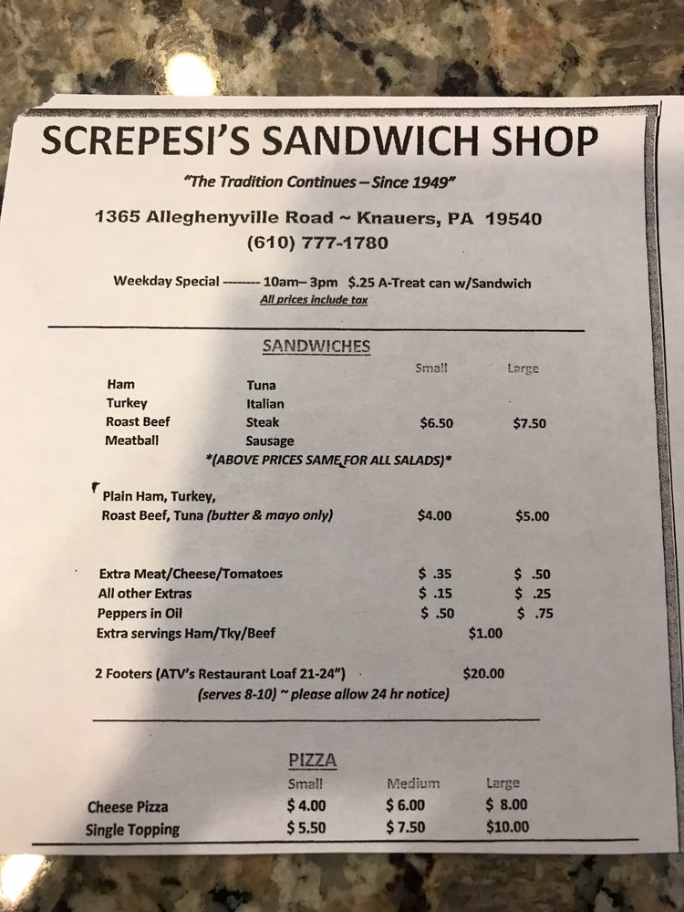 Screpesi's Sandwich Shop: 1365 Alleghenyville Rd, Mohnton, PA