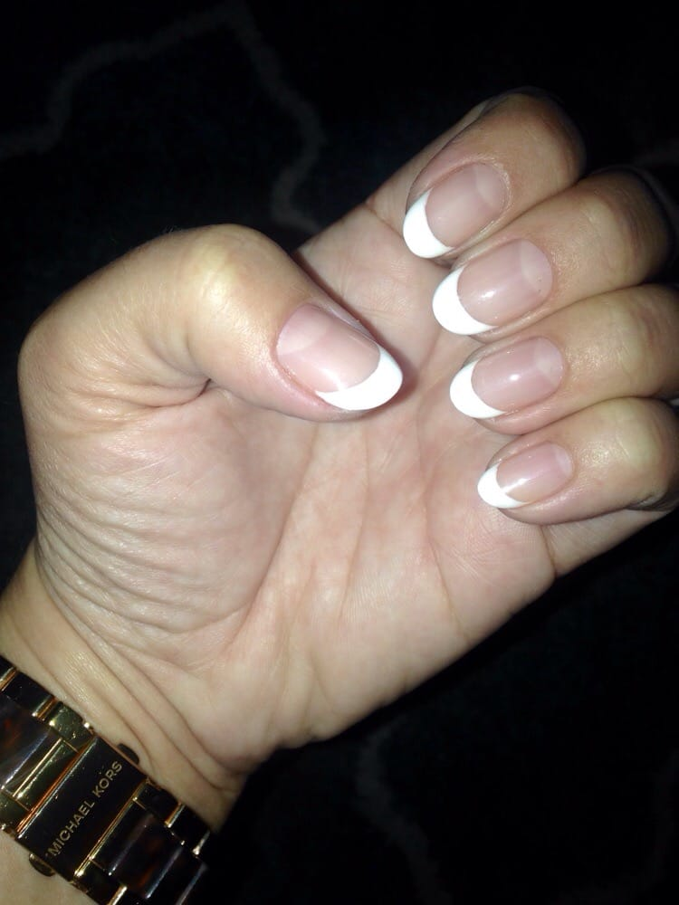 Beautiful, French gel manicure with round/almond natural nails (by ...