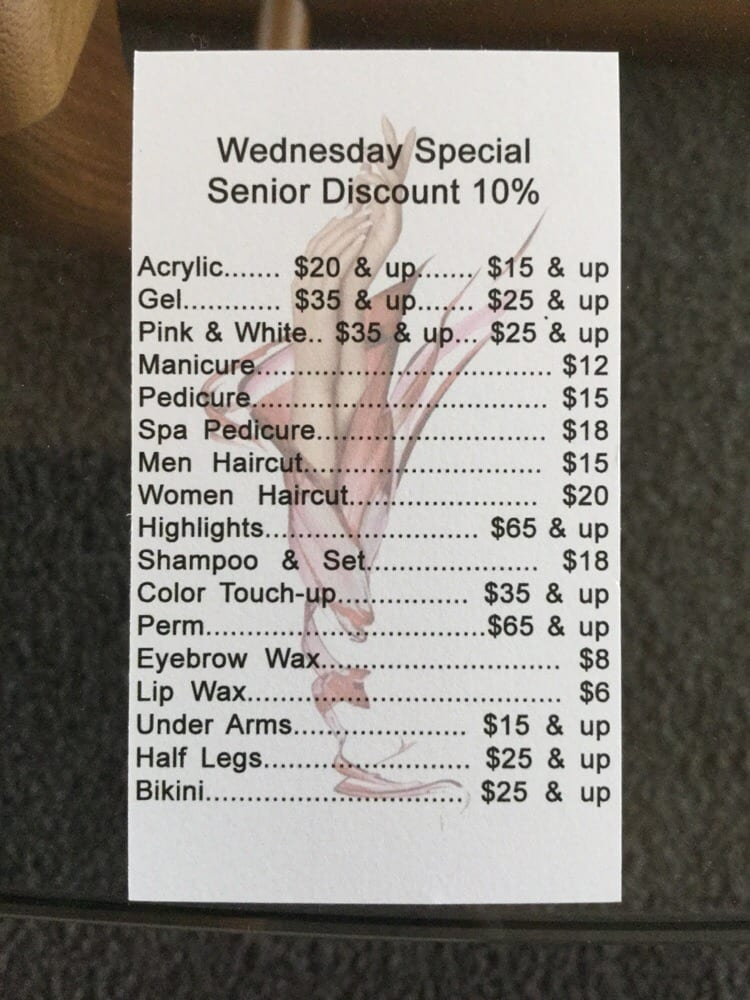 Price list on back of business card - Yelp