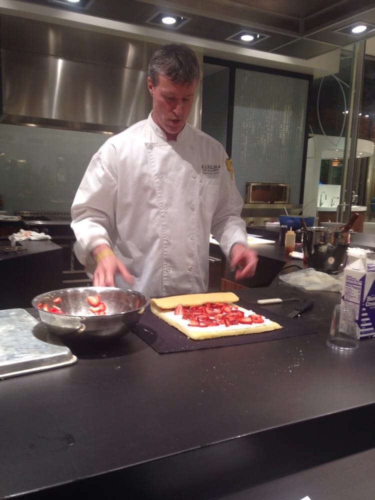 Chef teaching us how to roll the strawberry dessert yelp for Pirch atlanta