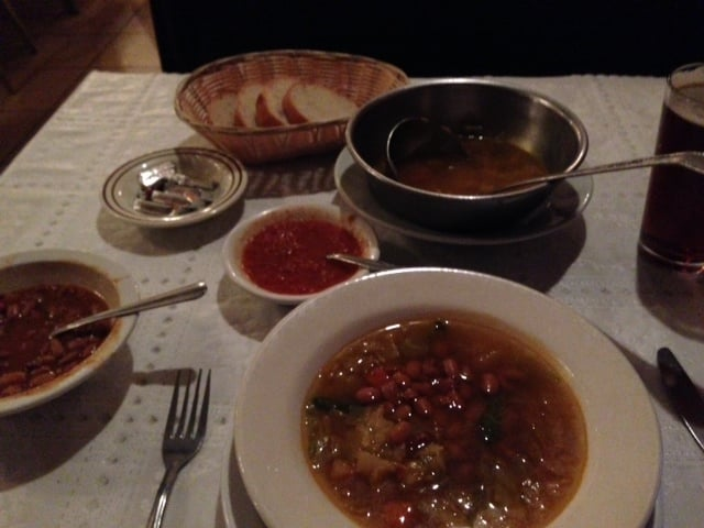 Photo of Chalet Basque Restaurant - Bakersfield, CA, United States. First course: vegetable soup (add your own beans and salsa to taste) and bread