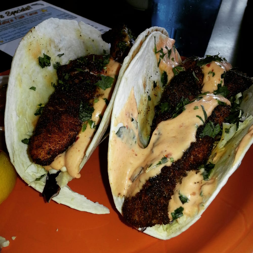 Blackened halibut fish tacos just the right amount of for Halibut fish tacos