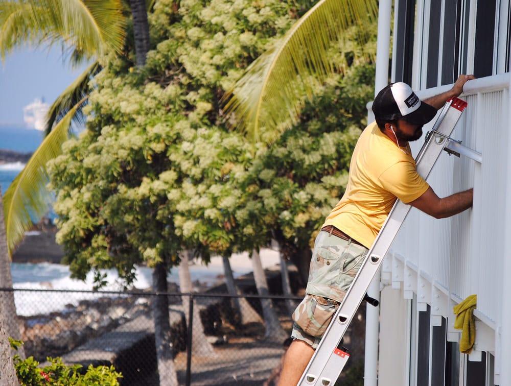 Cleaning The Windows At Kona Magic Sands Resort Yelp