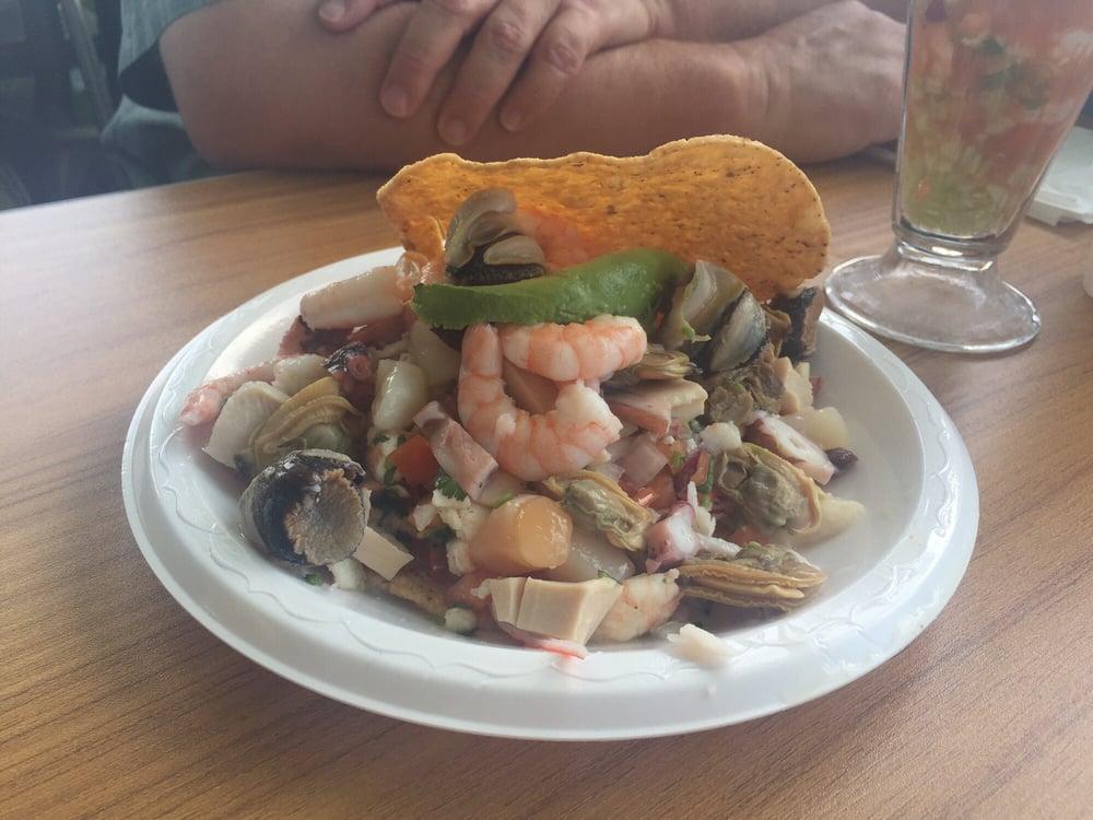 The baja tostada aka everything under the sea tostada for California fish tacos