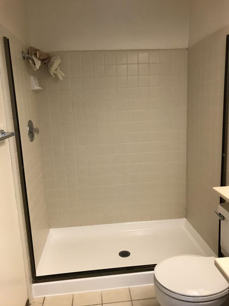 Nice refinishing job of the shower pan - Yelp