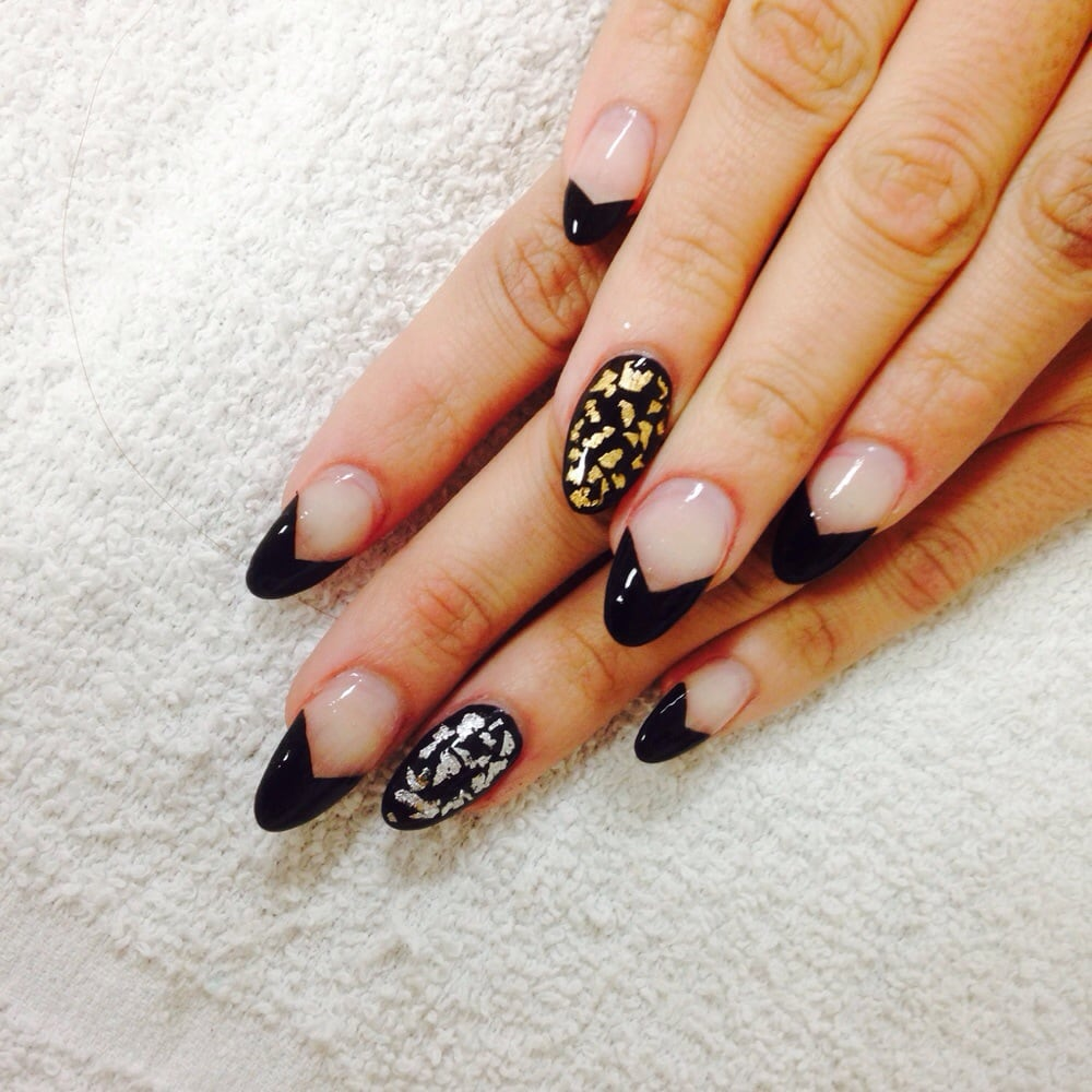 Round nails with v shaped black French! Silver and gold foil accent ...