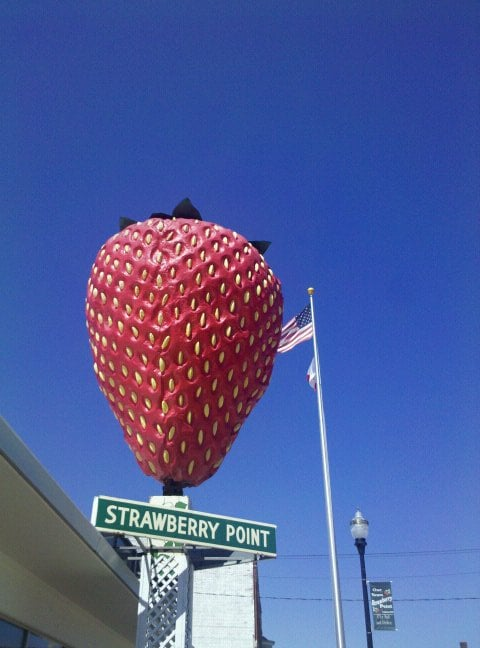 World's Largest Strawberry!: 111 Commercial St, Strawberry Point, IA