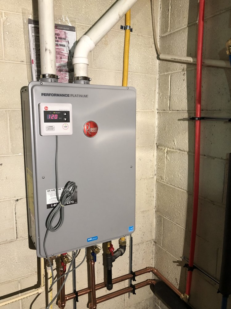 Newly Installed Rheem Tankless Hot Water Heater Natural Gas