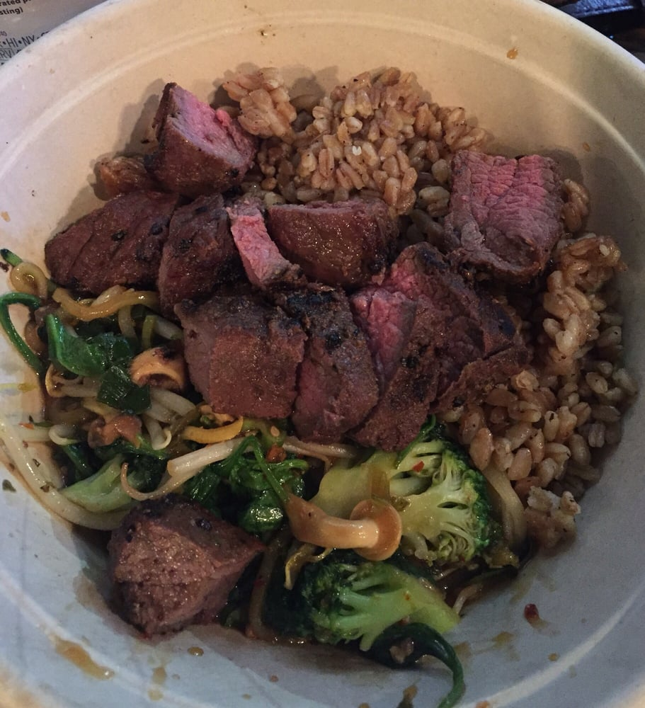 Spinach Bean Sprouts Mushrooms Zucchini Broccoli Steak Mixed With Teriyaki Sauce Over Farro