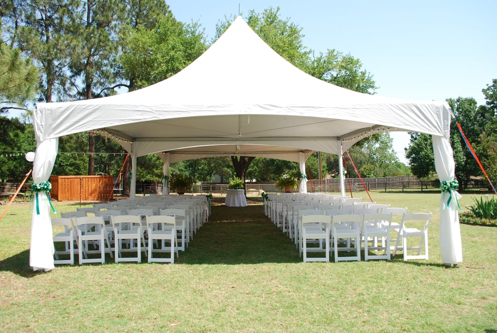 Wedding Ceremony Reception Hire: Event Tent Set Up With White Garden Chairs For Outdoor