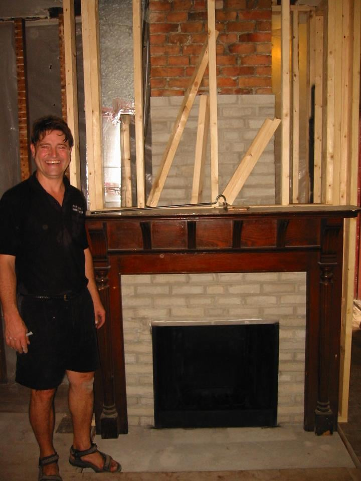 Billy By The New Fireplace The Wall And The Fireplace