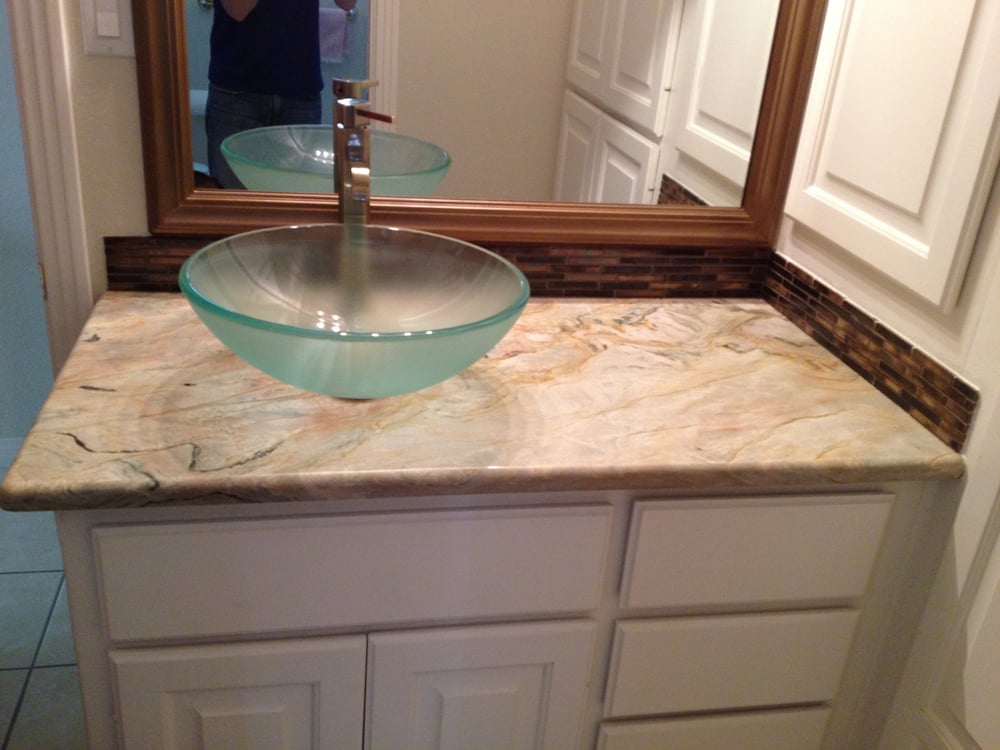Glass vessel sink on fusion granite bathroom countertop yelp - Kitchen sinks austin tx ...