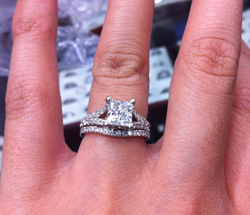 My custom made engagement ring and matching wedding band Yelp