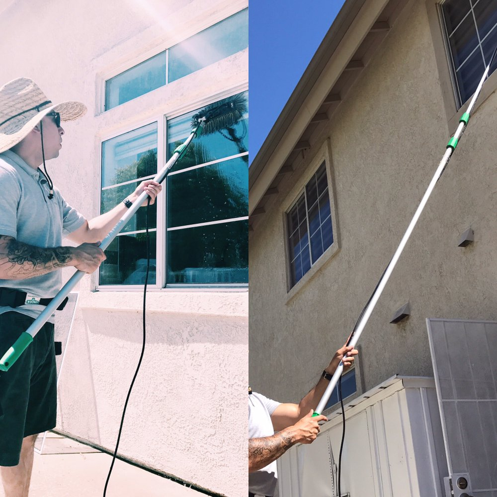 Rainbird window cleaning uses a waterfed pole for exterior windows leaving them streak free yelp for Cleaning exterior house windows