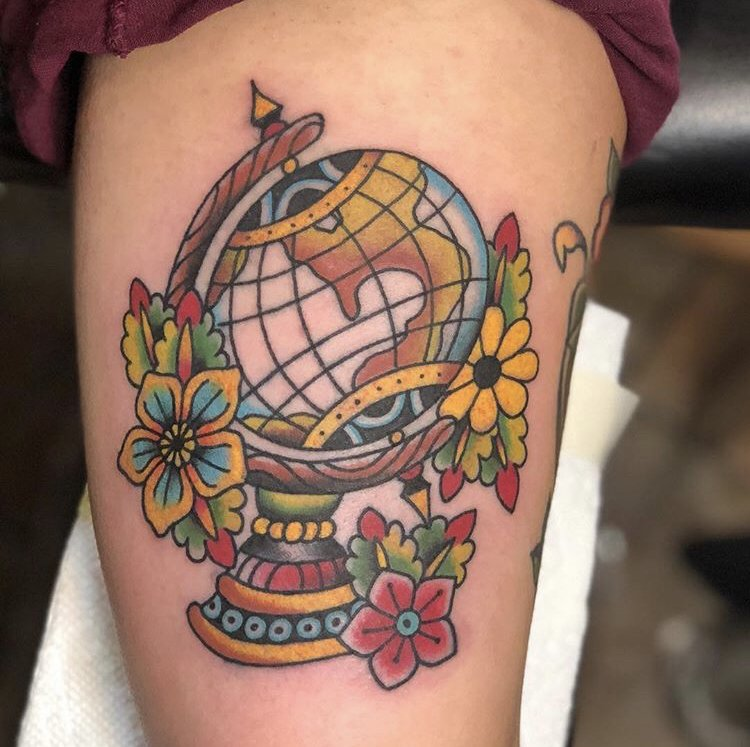 Globe tattoo by Vin at Planet New York Tattoo - Yelp