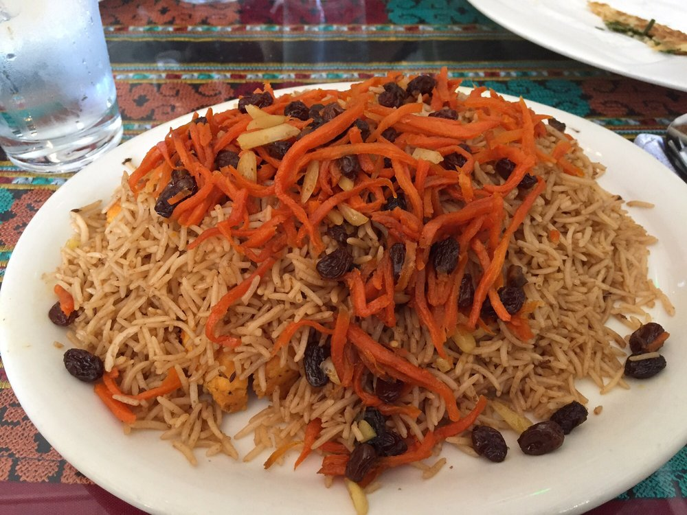 Qabuli palow chicken underneath spiced rice yelp for Afghan cuisine fremont