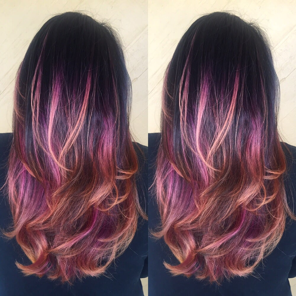 Dark brown purple/pink-peach ombré! Ask for the enjoy ...
