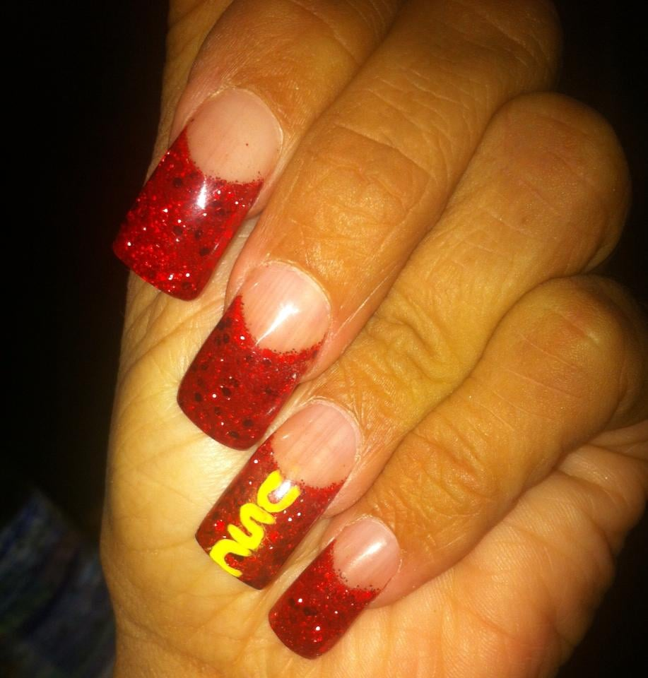 Full set of glitter and clear acrylic nails by Alex - Yelp