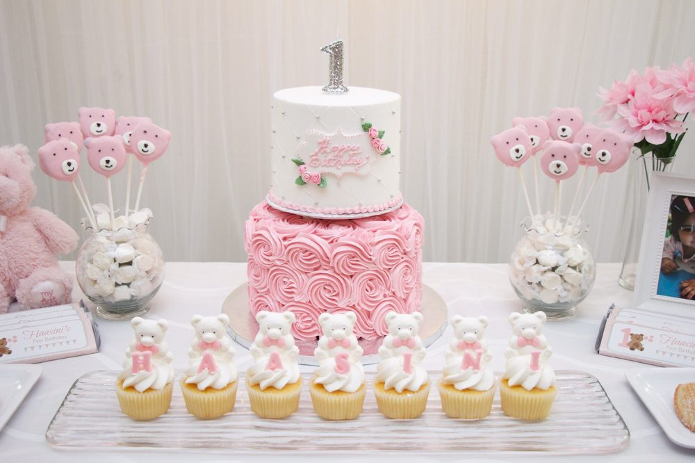 First Birthday 2 Tier Cake In Pink And White Yelp