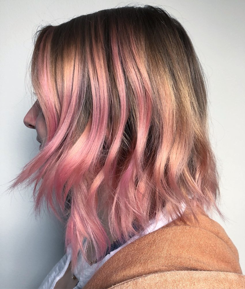 Bubble Gum Pink Balayage Ombr And Textured Bob Haircut Yelp