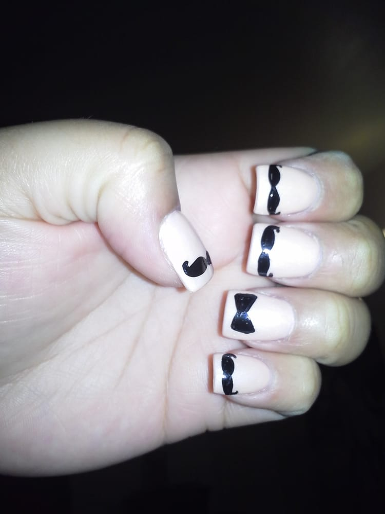 Mustache Design With A Bow Tie Ring Finger Nail Yelp