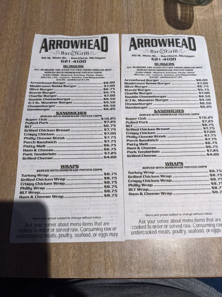 Arrowhead Bar & Grill: 20 W Main St, Hartford, MI
