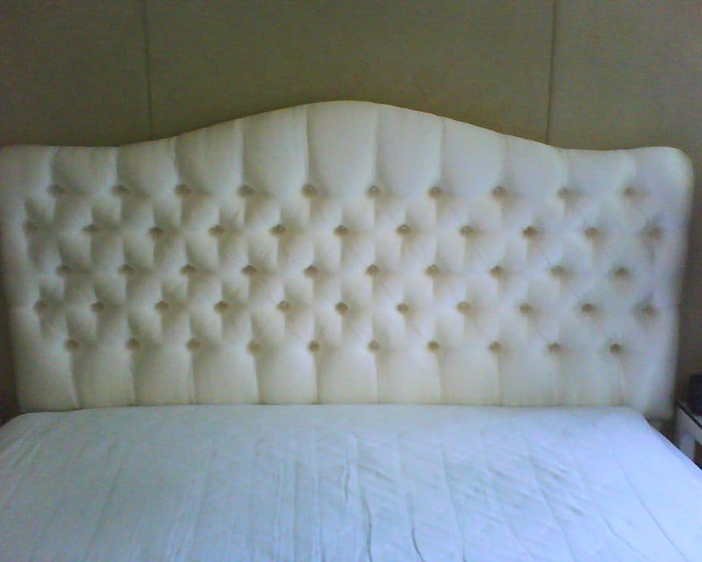 Custom Tufted Headboard upholstered in a white upholstery ...