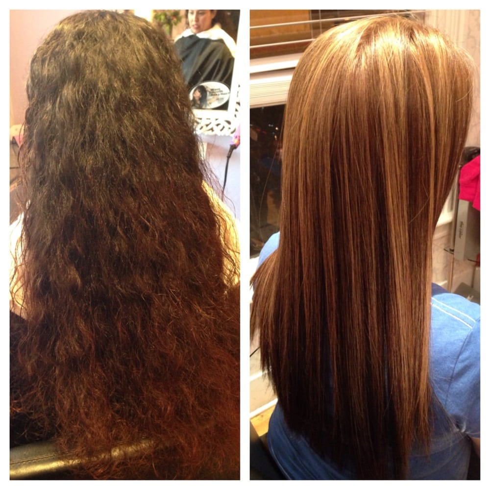 Before Natural Dark Brown Frizzy Hair After Full Highlights And