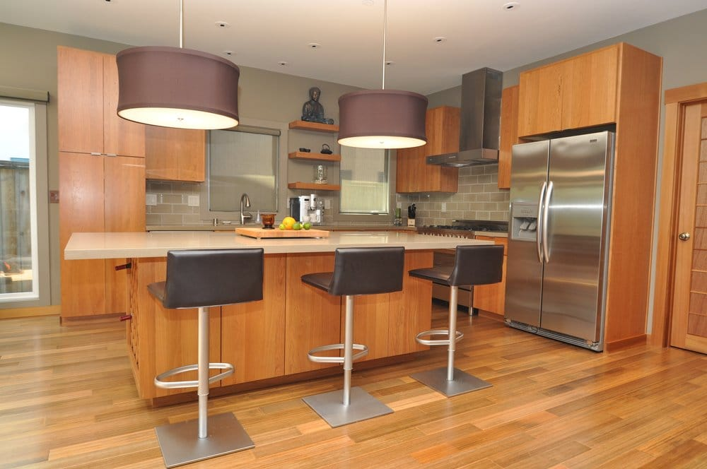 Bamboo flooring cherry cabinets caesarstone countertops for Bamboo kitchen cabinets reviews