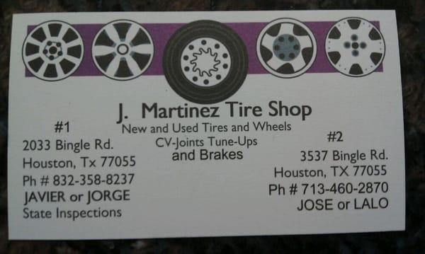 J Martinez Tire Shop 2033 Bingle Rd Houston Tx Tire Dealers Mapquest