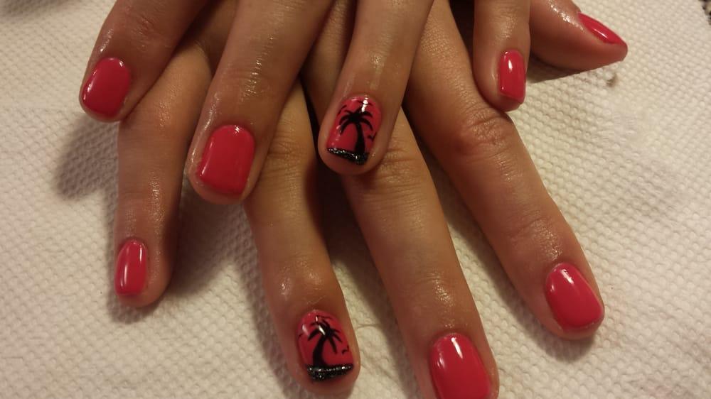 spring break nail art with shellac color bikini pink yelp. Black Bedroom Furniture Sets. Home Design Ideas