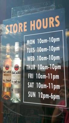 Liquor store hours near me