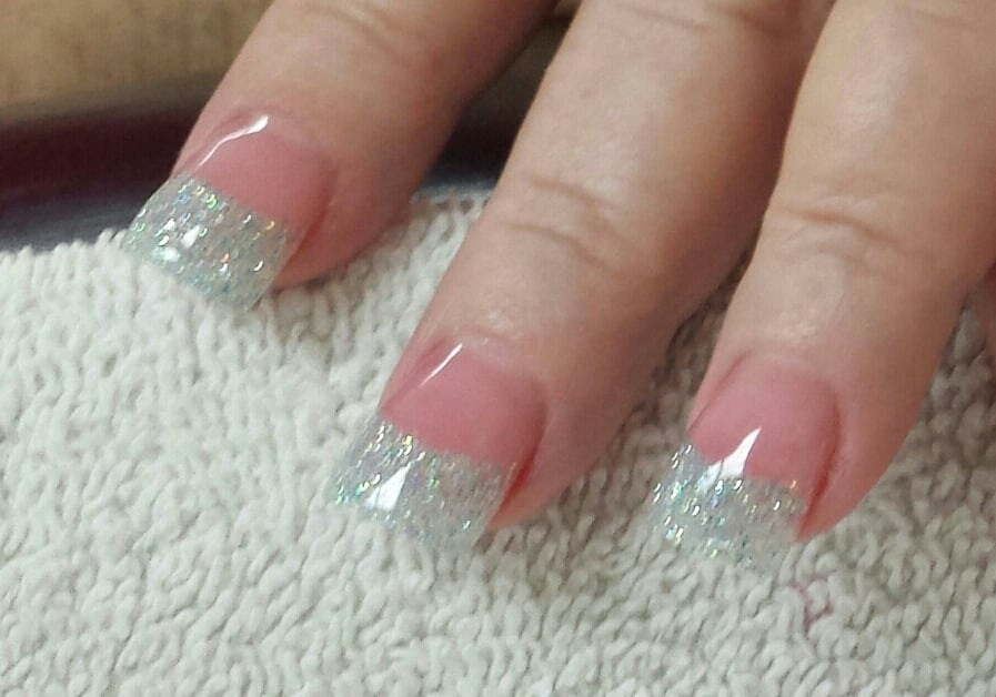 Silver glitter acrylic on tips with medium pink acrylic on nail bed ...