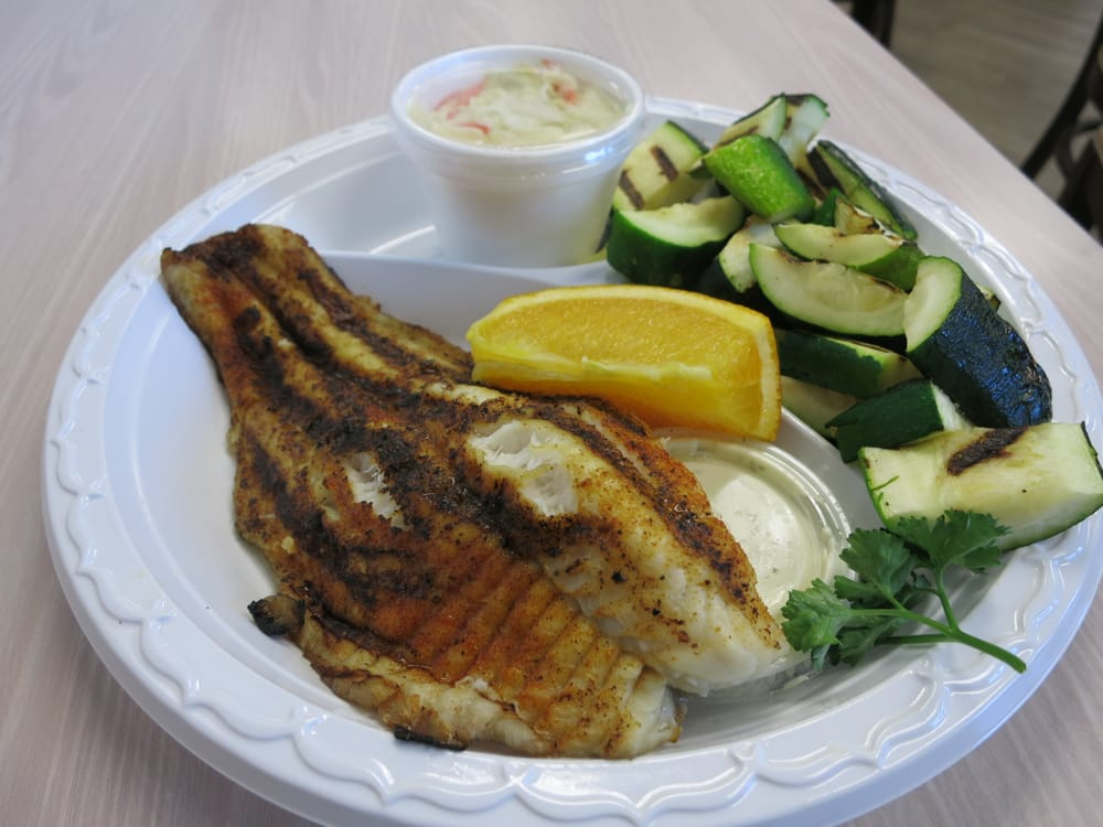 Catfish Plate Cajun Rub Grilled Zucchini Subbed In Yelp