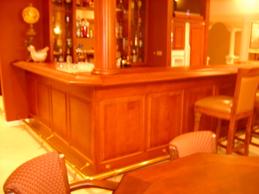 Custom Bar With Wood Fluted Column Raised Panels