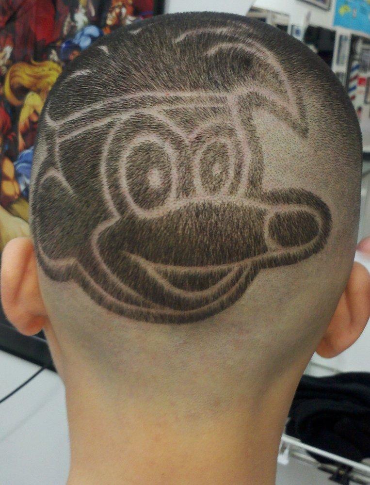 Juice Cuts Barber Shop Mickey Mouse B Boy Head Design Haircut