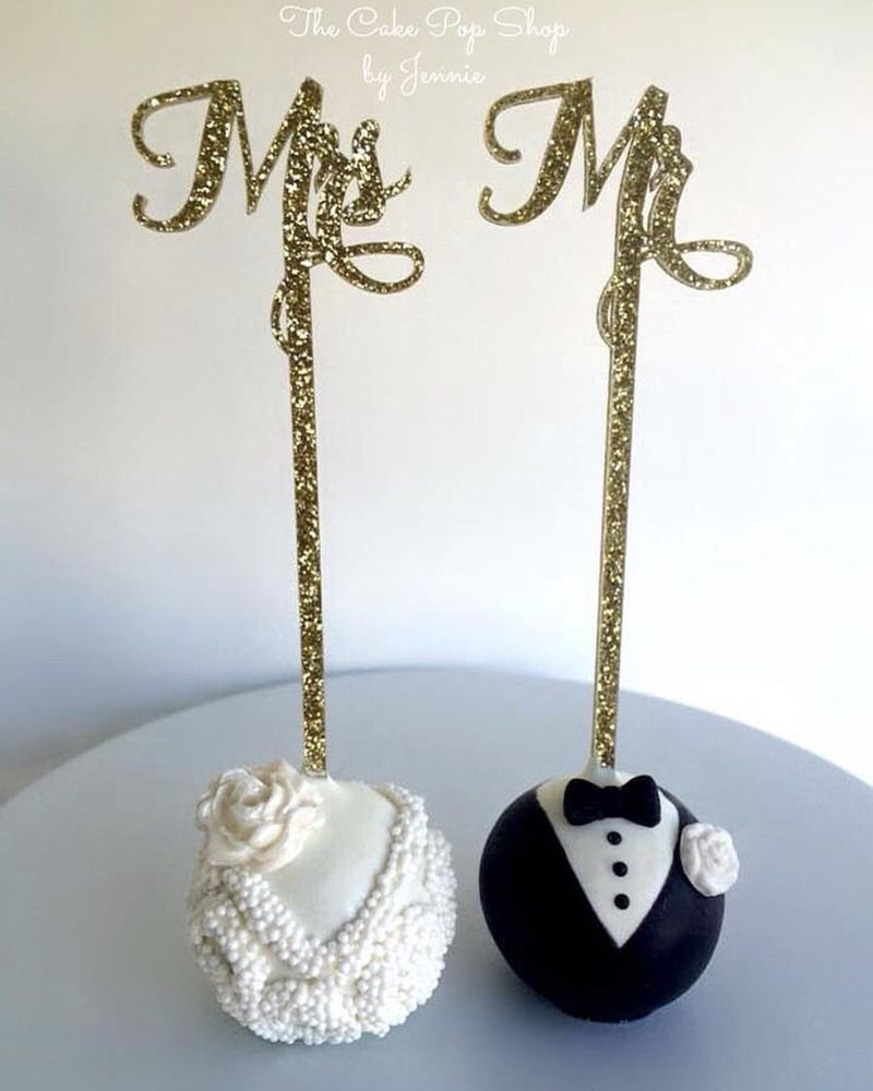 Bride And Groom Cake Pops With Customers Mr And Mrs Sticks Yelp