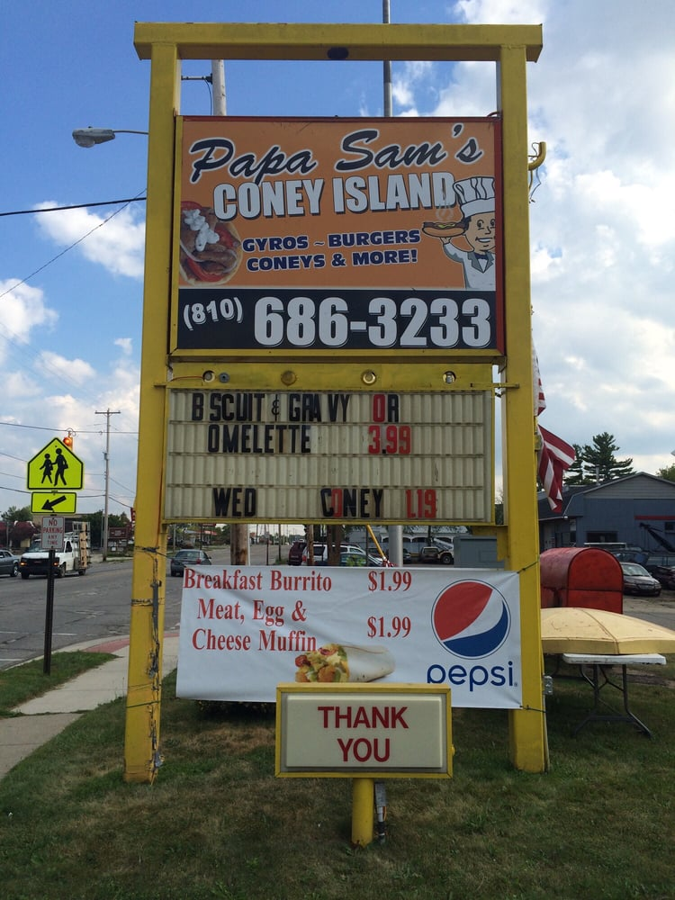 Papa Sam's Coney Island: 11111 N Saginaw St, Mount Morris, MI