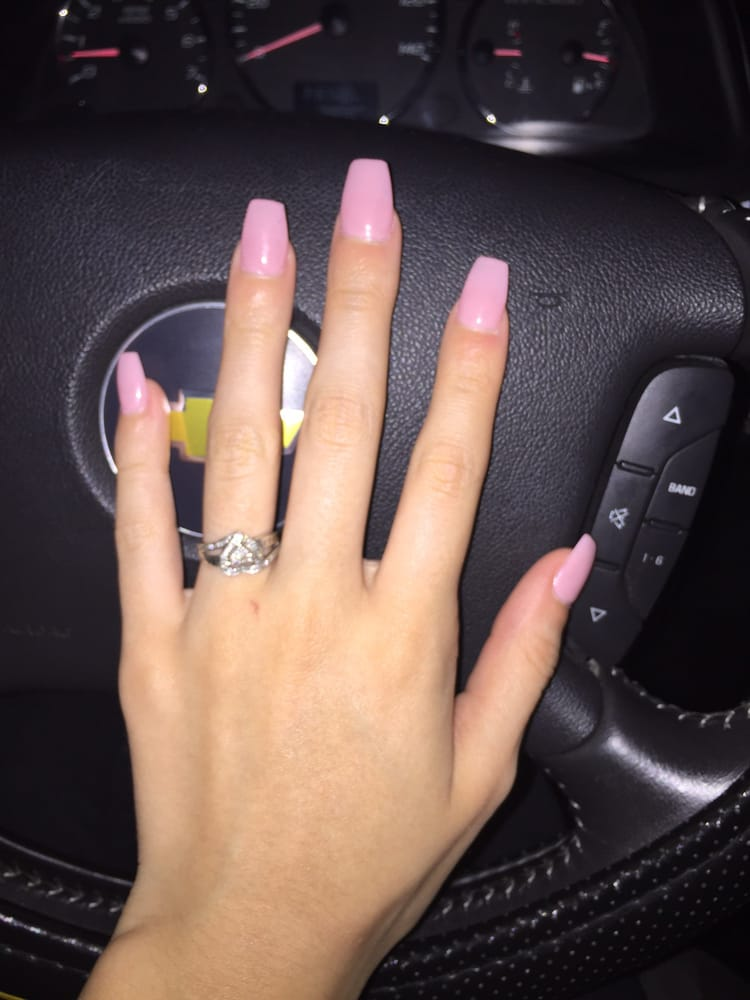 Coffin gel nails in the color Fairy Dream. Done by Michael! - Yelp