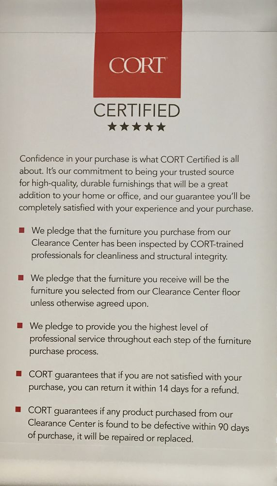 Our Cort Certified Pledge For Our Retail Sales In Our Clearance Center Yelp