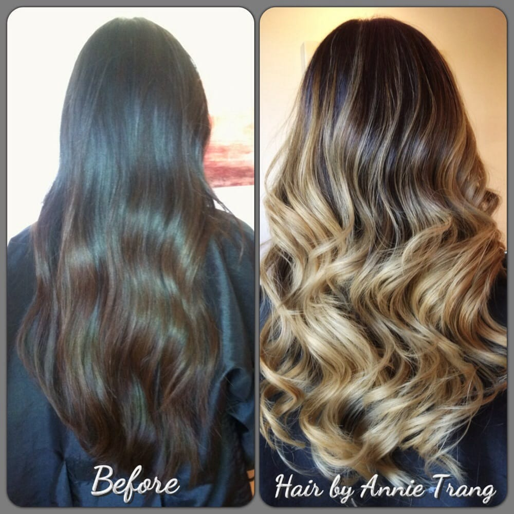 Blonde Ombré Balayage On Natural Dark Hair The Lowlights Blend So Well Thank You Annie Yelp