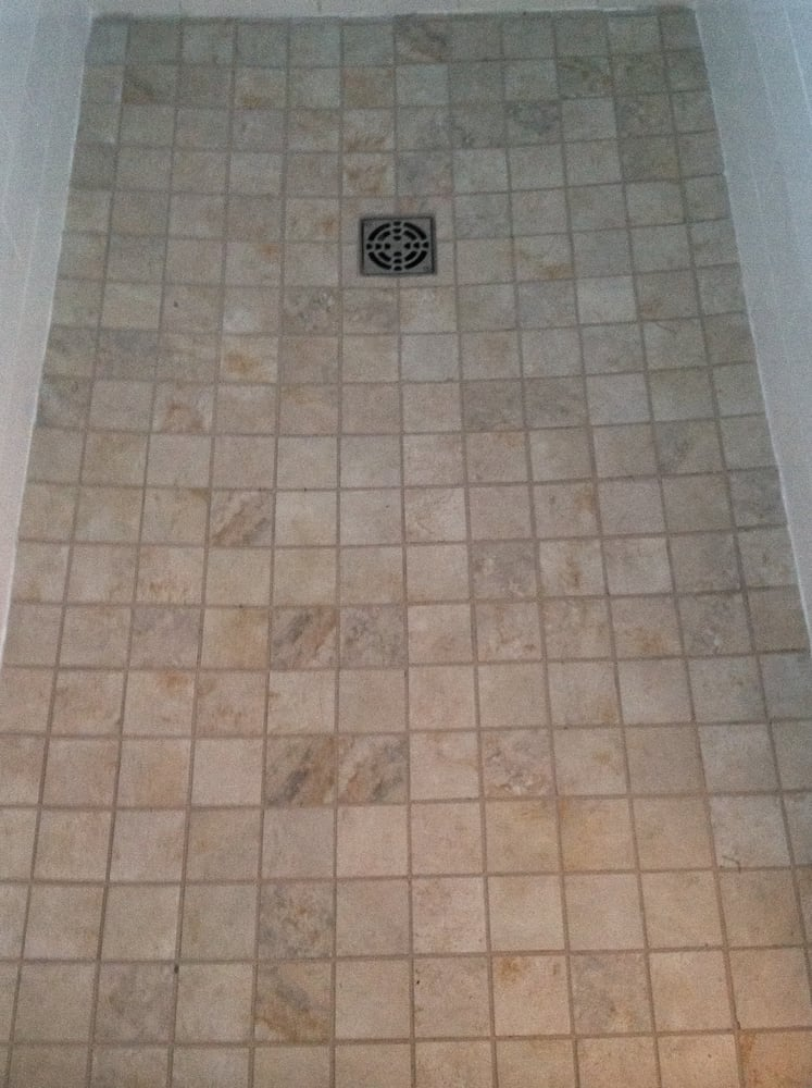 Shower Floor 3 X 3 Porcelain Tile With Epoxy Stain Proof Grout