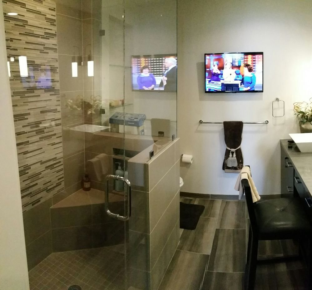 Bathroom Remodeling San Diego Painting bathroom remodel tile countertops glassdoor tv installation tape