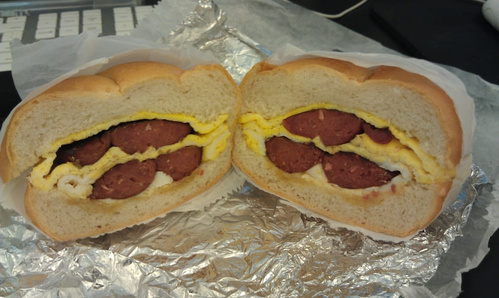 $3.00 Egg sandwich plus .50 for the sausage = breakfast ...