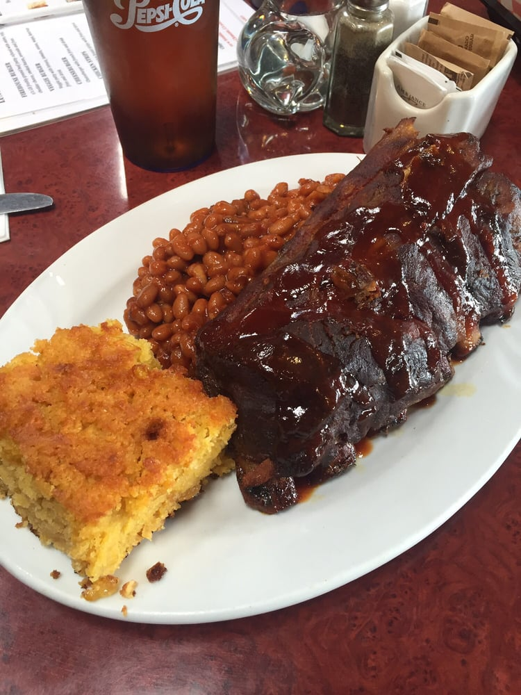 Photo of Firehouse Ribs & More - San Clemente, CA, United States. Half Rack of Baby Back Ribs. (Meat FALLS OFF BONE) BBQ Beans, and Corn Bread! Finger Licking GOOD